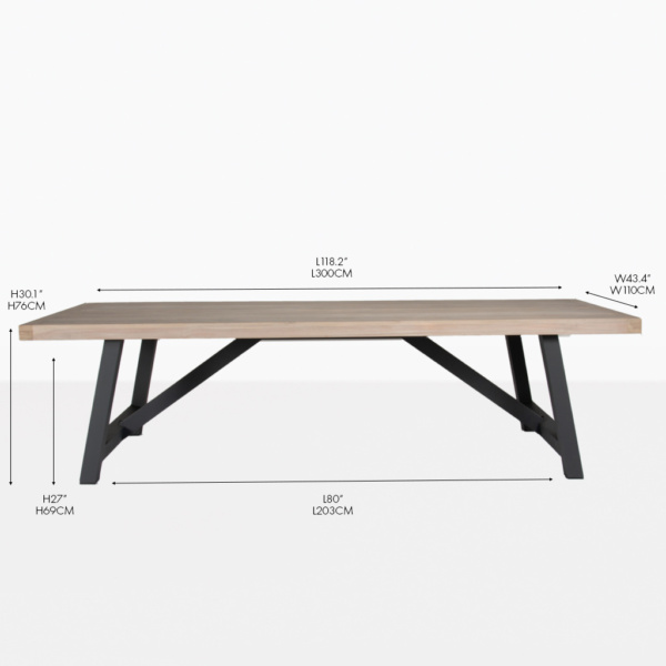 Hobson rectangular teak and aluminum outdoor dining table