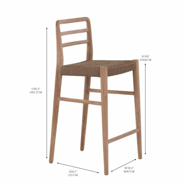 Jack Reclaimed Teak and Wicker counter bar chair