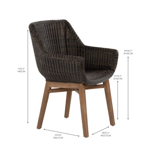 James wicker and teak outdoor dining arm chair