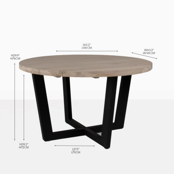 Round teak and aluminum outdoor dining table
