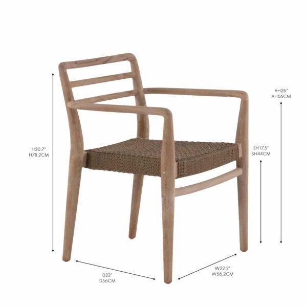 Joan arm dining chair reclaimed teak wicker