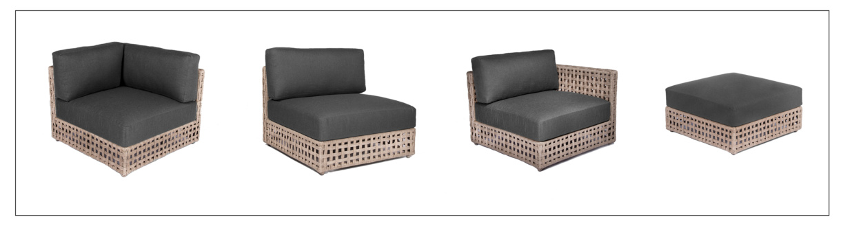 Logan Outdoor Wicker Sectional Furniture pieces in Natural