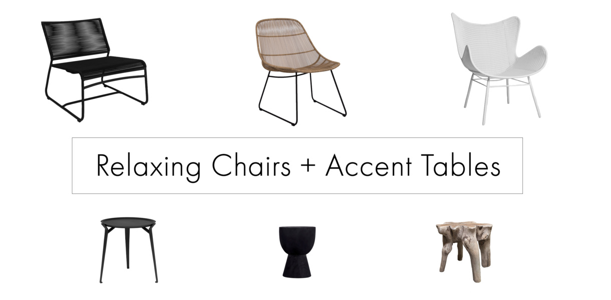 Outdoor Relaxing Chairs plus Accent Tables