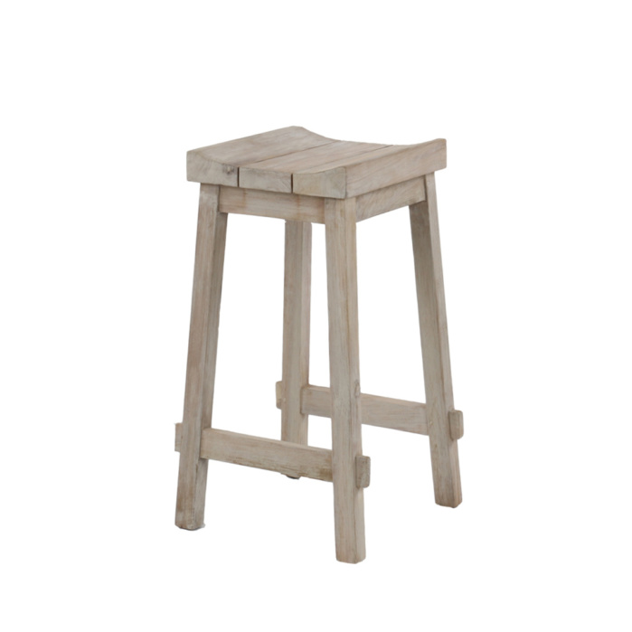 Alice Outdoor Reclaimed Teak Counter Height Bar Stool Angle View