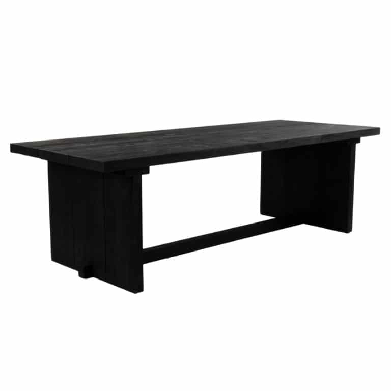 Denis Outdoor Reclaimed Teak Dining Table (Black) Angle View