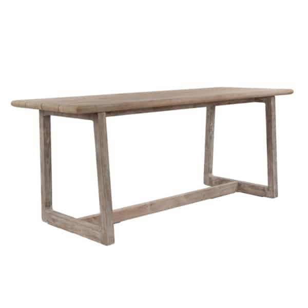 Donald Outdoor Reclaimed Teak Counter Height Bar Table Angle View