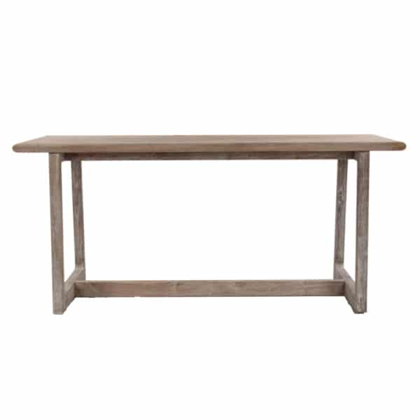 Donald Outdoor Reclaimed Teak Counter Height Bar Table Front View