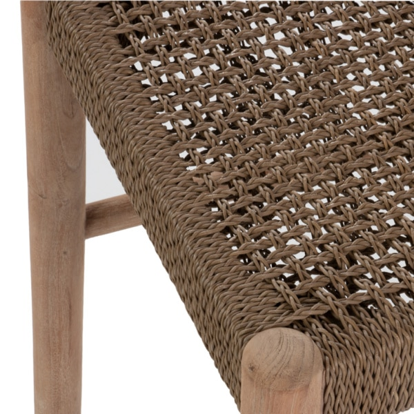 Jack Outdoor Reclaimed Teak and Wicker Counter Height Bar Chair (Natural) Closeup View