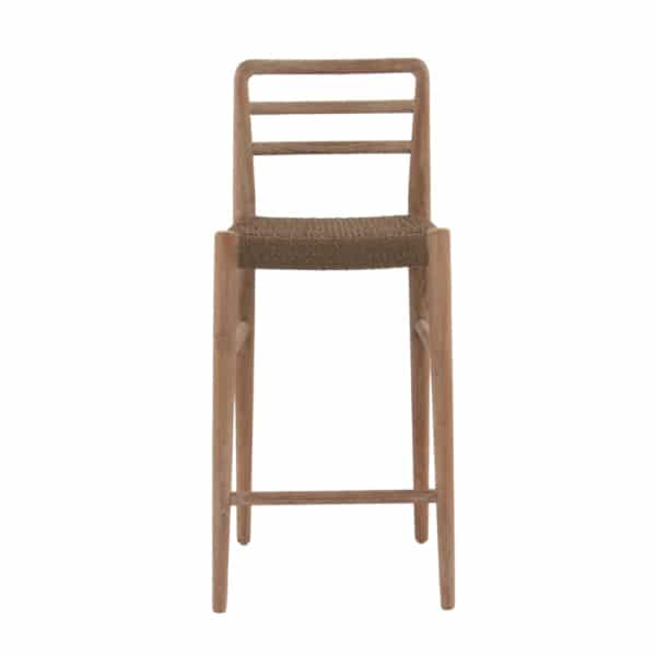 Jack Outdoor Reclaimed Teak and Wicker Counter Height Bar Chair (Natural) Front View