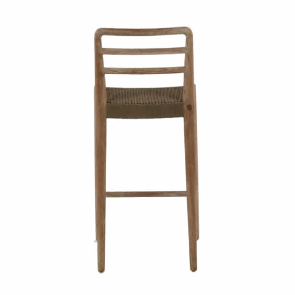 Jack Outdoor Reclaimed Teak and Wicker Counter Height Bar Chair (Natural) Rear View