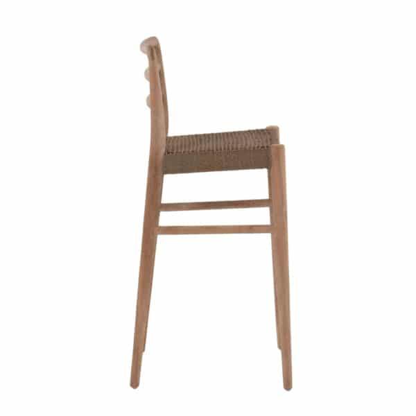 Jack Outdoor Reclaimed Teak and Wicker Counter Height Bar Chair (Natural) Side View