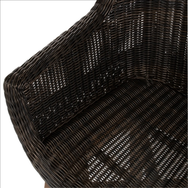 James Outdoor Wicker and Reclaimed Teak Dining Armchair Closeup View