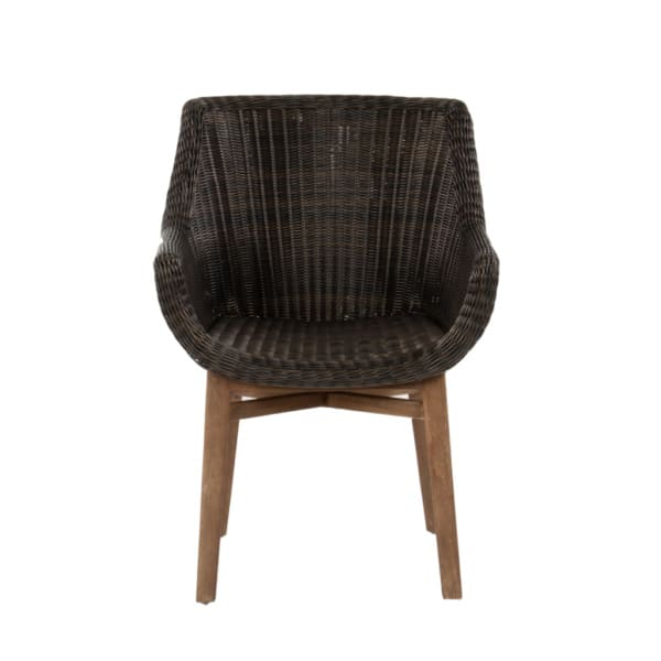 James Outdoor Wicker and Reclaimed Teak Dining Armchair Front View