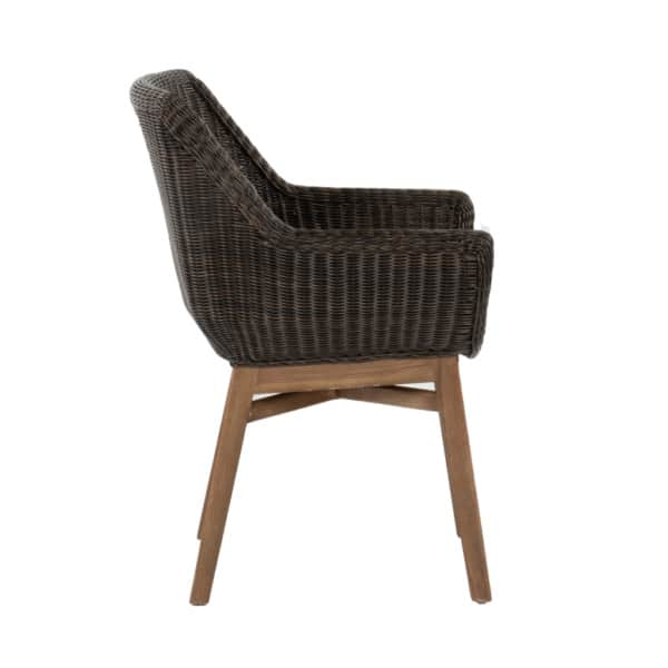 James Outdoor Wicker and Reclaimed Teak Dining Armchair Side View