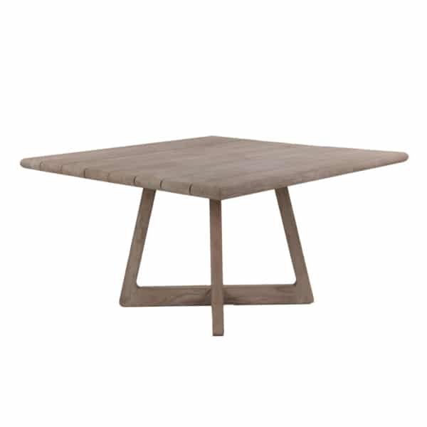 Tyber Outdoor Square Reclaimed Teak Dining Table Angle View
