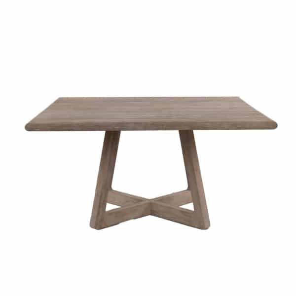 Tyber Outdoor Square Reclaimed Teak Dining Table Front View