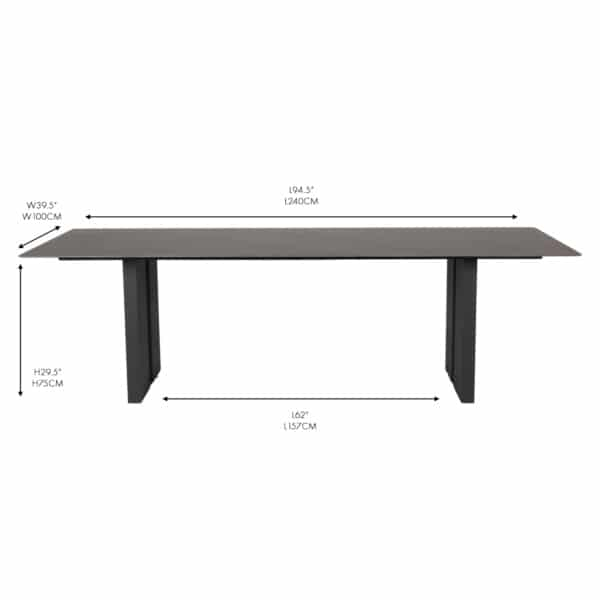 frankfurt black ceramic outdoor dining table