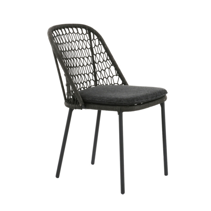 dark gray wicker dining chair