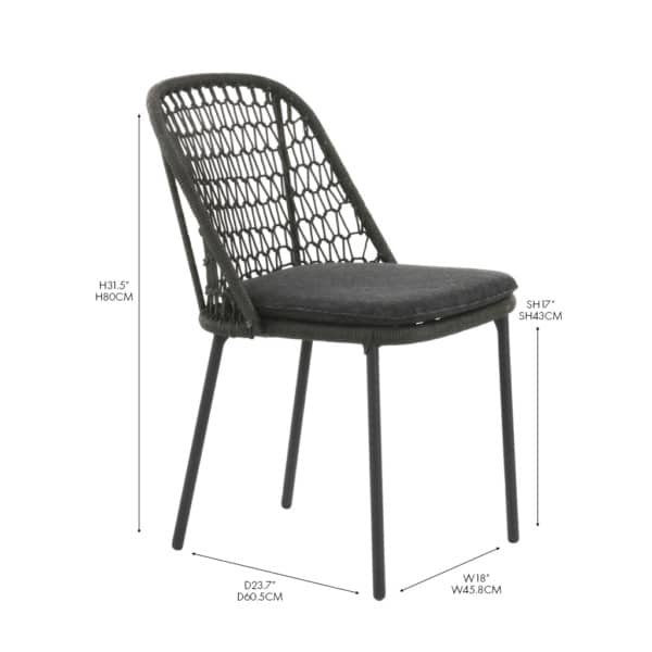 Mel Dining Side Chair Rope and Aluminum