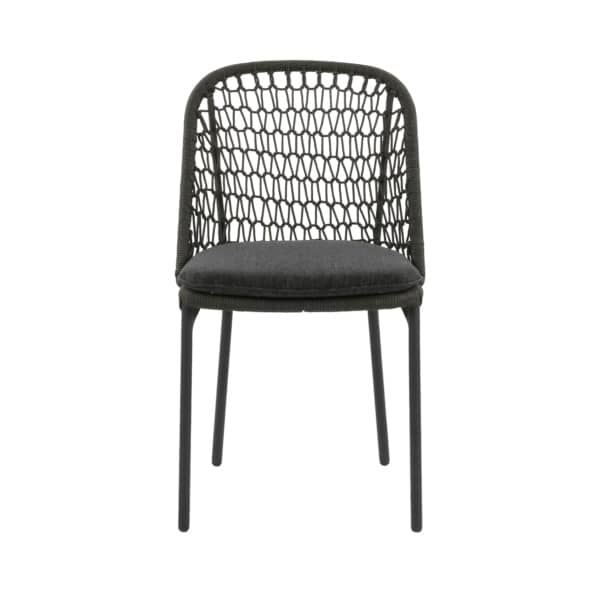 wicker dining chair in dark gray