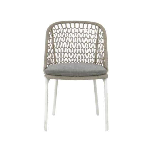 white wicker dining chair front