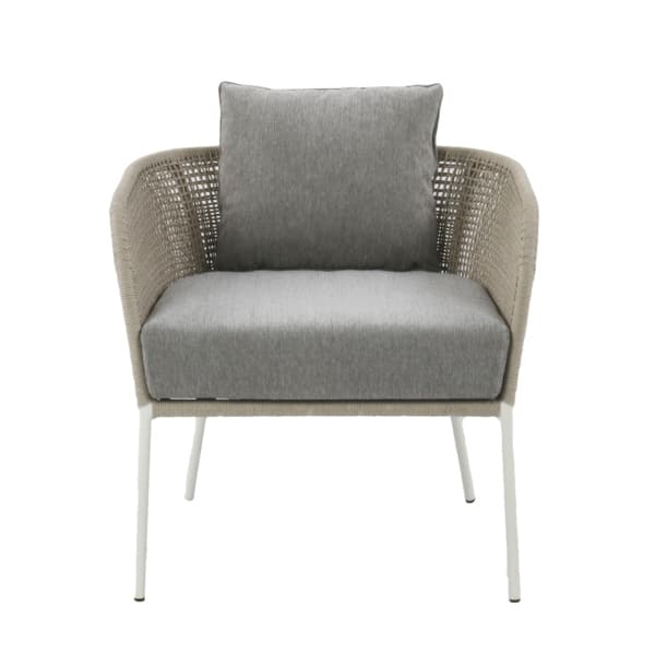 white rope outdoor chair with gray cushion