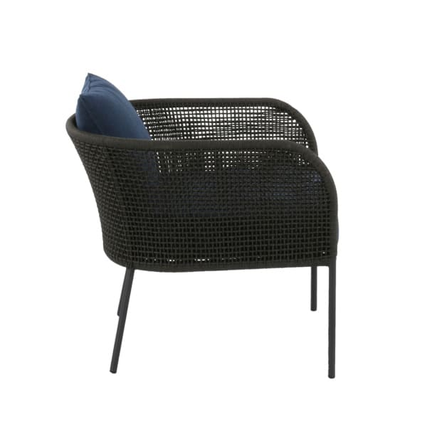 dark gray and blue club chair