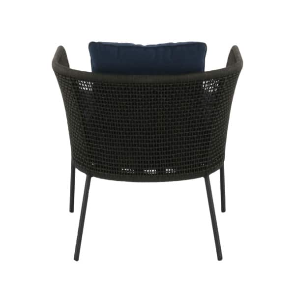 rope club chair with blue cushions