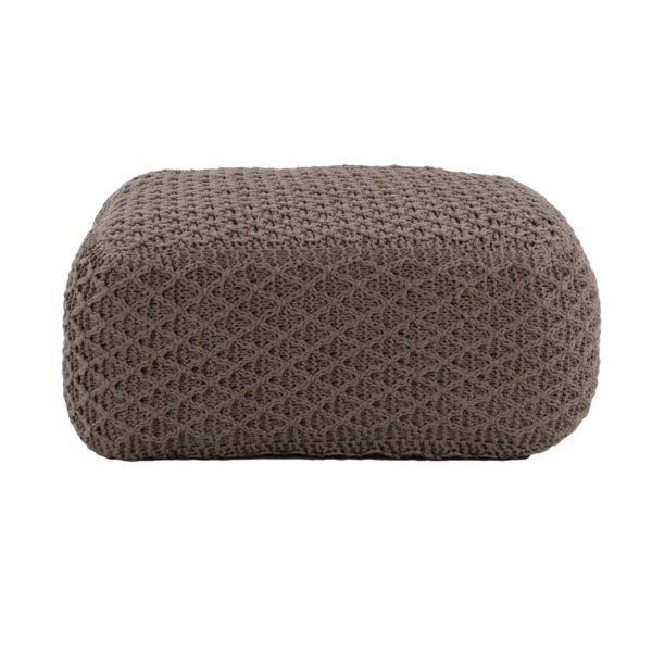 square stuffed ottoman in brown