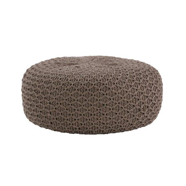 round stuffed ottoman natural tone