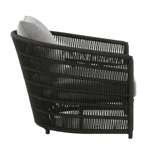 outdoor club chair rope with gray cushion