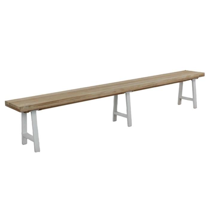 Santa Fe - long outdoor Bench White