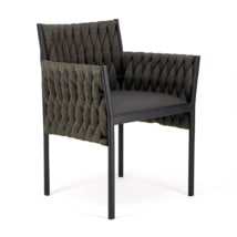 Calvin Outdoor Dining Chair Coal - Angle View