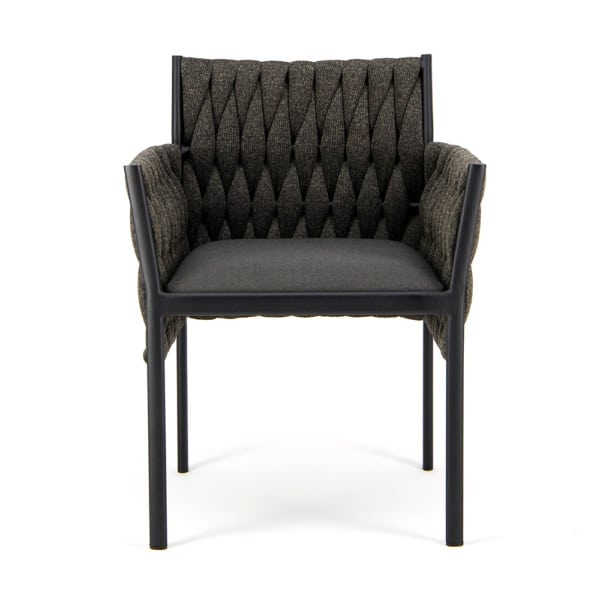 Calvin Outdoor Dining Chair Coal - Front View