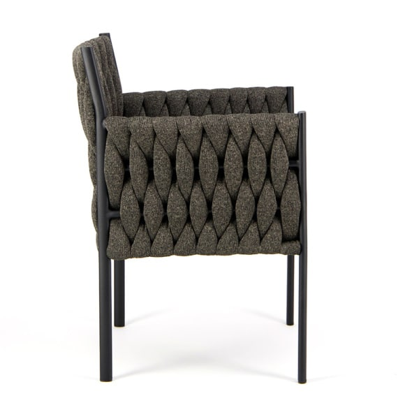 Calvin Outdoor Dining Chair Coal - Side View