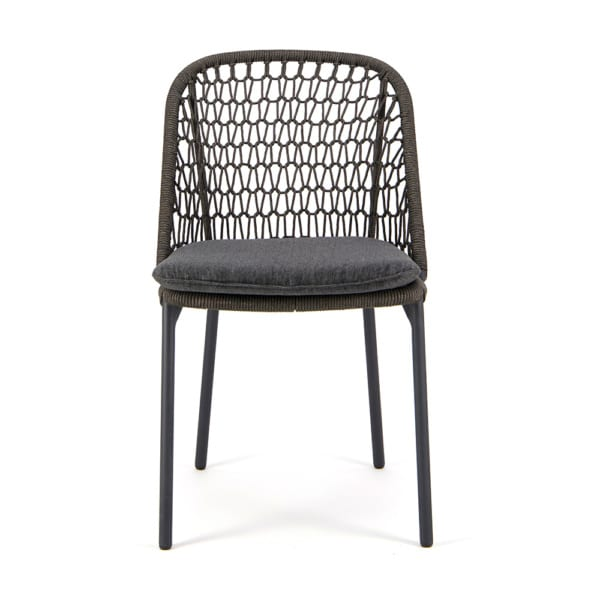 Mel Outdoor Rope Dining Side Chair Charcoal - Front View