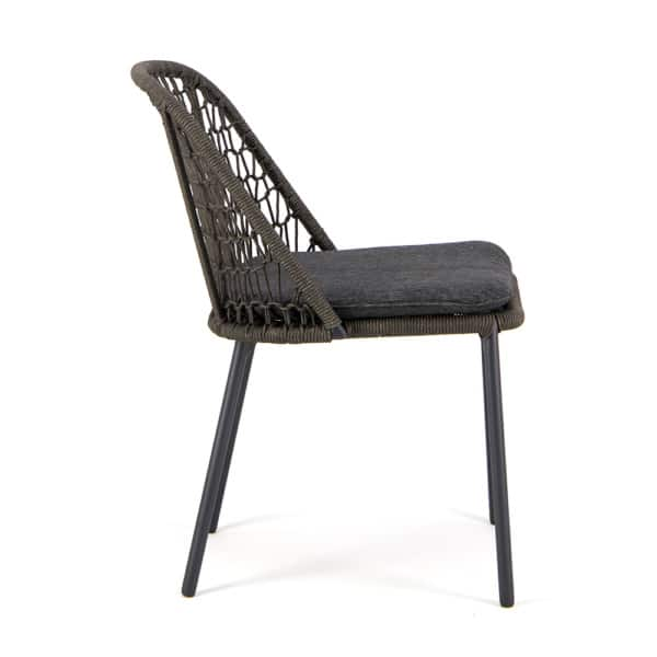 Mel Outdoor Rope Dining Side Chair Charcoal - Side View