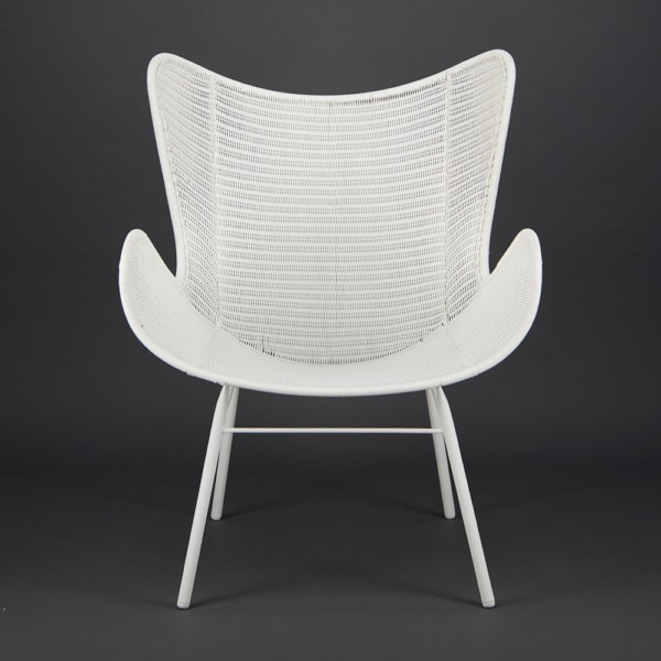 Nairobi Pure Outdoor Wicker Wing Chair White - Front View