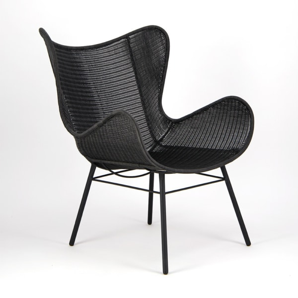 Nairobi Pure Wicker Wing Chair Black - Angle View
