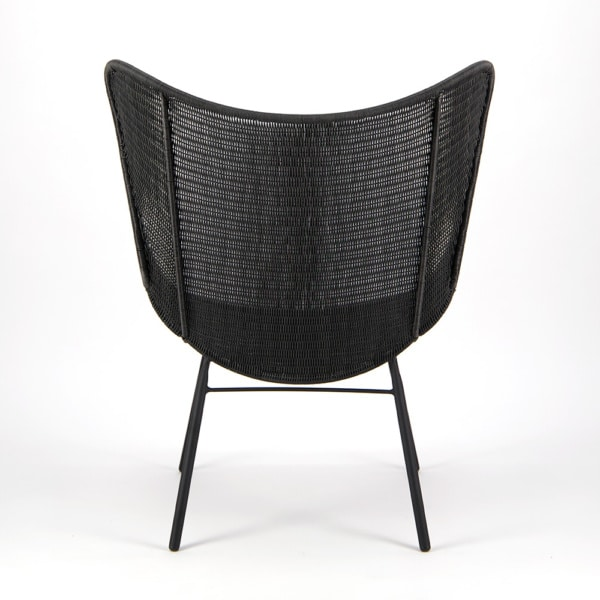 Nairobi Pure Wicker Wing Chair Black - Rear View