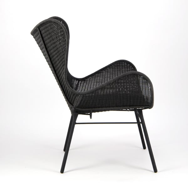 Nairobi Pure Wicker Wing Chair Black - Side View