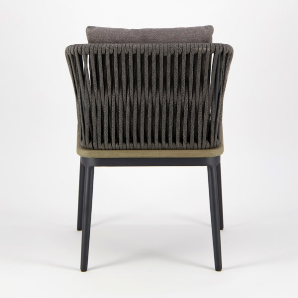 Oasis Outdoor Dining Arm Chair in Blend Coal - Rear View