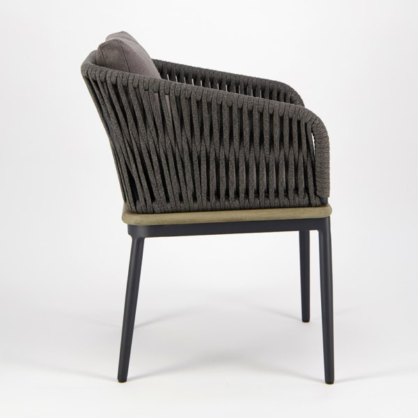 Oasis Outdoor Dining Arm Chair in Blend Coal - Side View