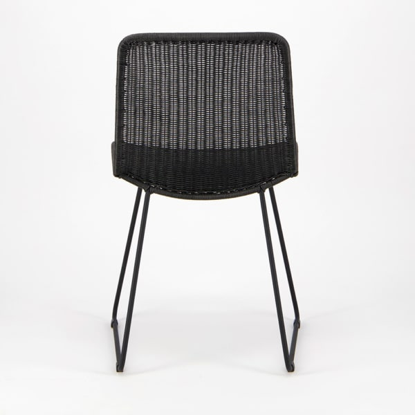 Olive Wicker Dining Side Chair Black - Rear View