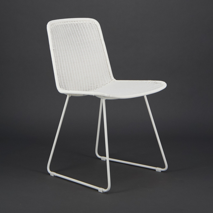Olive Wicker Dining Side Chair Stonewhite - Angle View
