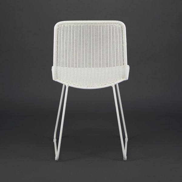 Olive Wicker Dining Side Chair Stonewhite - Rear View