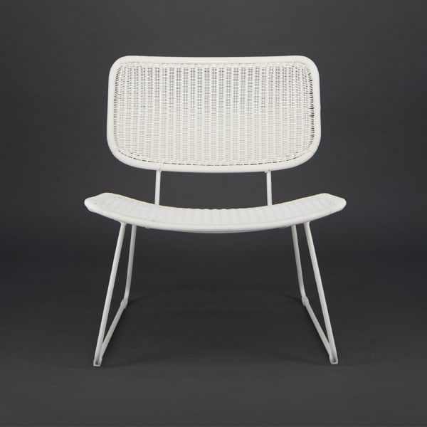 Polly Outdoor Wicker Relaxing Chair Stonewhite - Front View
