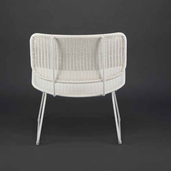 Polly Outdoor Wicker Relaxing Chair Stonewhite - Rear View