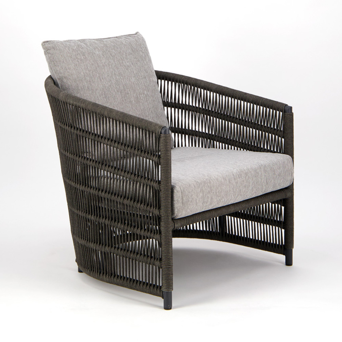 Tammy Outdoor Rope Relaxing Chair Charcoal - Angle View
