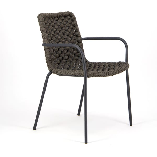 Terri Outdoor Dining Arm Chair Charcoal Rubber Rope - Angle View